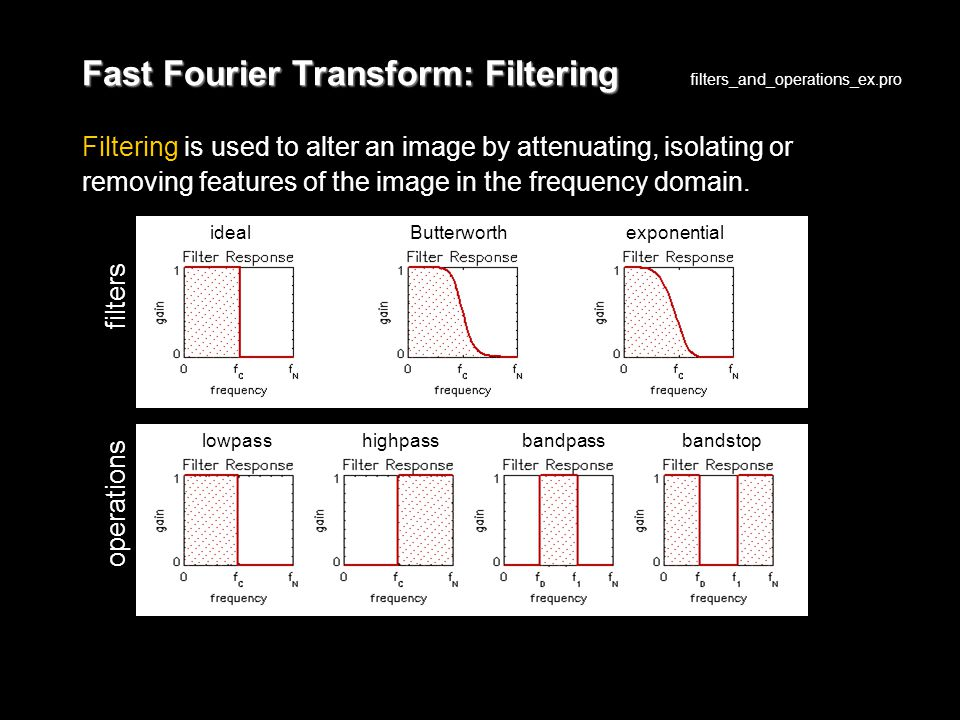Fast Fourier Transform: Filtering Filtering is used to alter an image by attenuating, isolating or removing features of the image in the frequency domain.