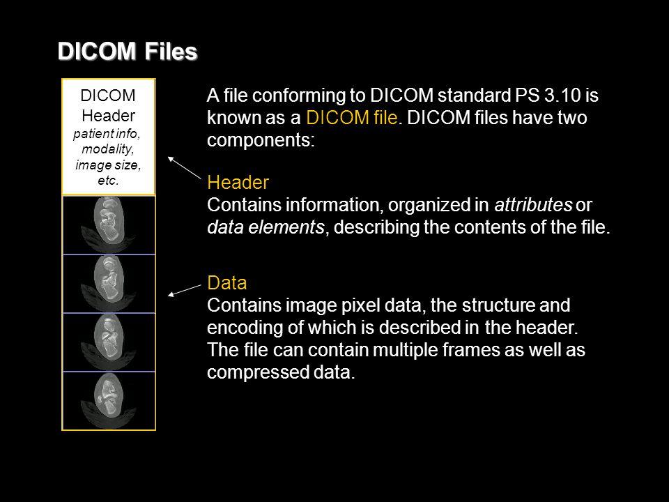 DICOM Files DICOM Header patient info, modality, image size, etc.
