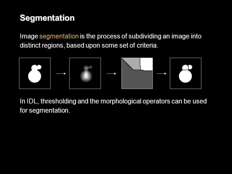 Segmentation Image segmentation is the process of subdividing an image into distinct regions, based upon some set of criteria.