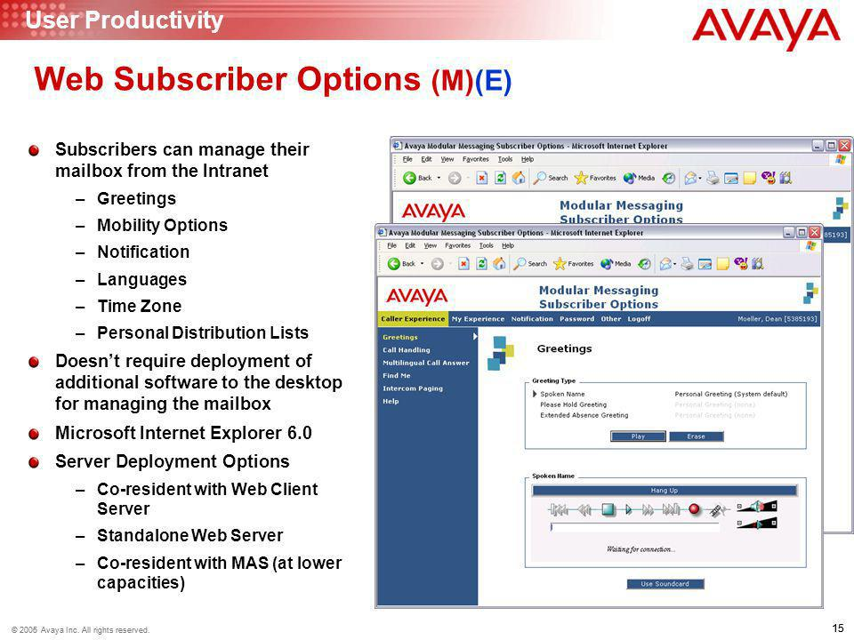 15 © 2006 Avaya Inc. All rights reserved. 15 © 2005 Avaya Inc. All rights reserved. Web Subscriber Options (M)(E) Subscribers can manage their mailbox