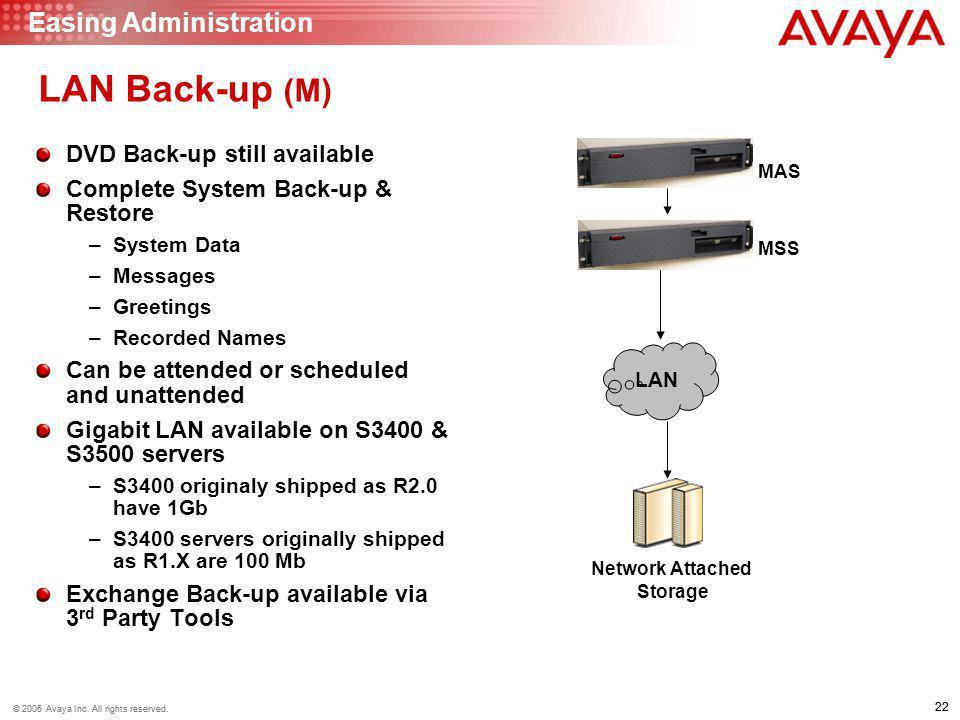 22 © 2006 Avaya Inc. All rights reserved. 22 © 2005 Avaya Inc. All rights reserved. LAN Back-up (M) DVD Back-up still available Complete System Back-u