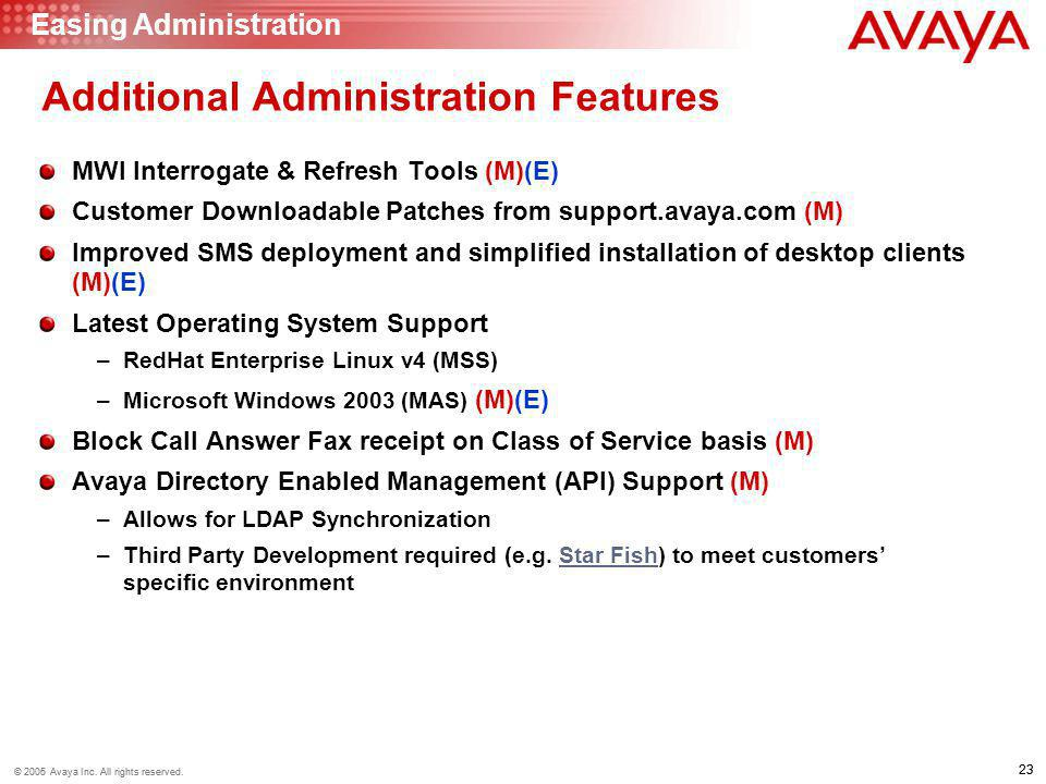 23 © 2006 Avaya Inc. All rights reserved. 23 © 2005 Avaya Inc. All rights reserved. Additional Administration Features MWI Interrogate & Refresh Tools
