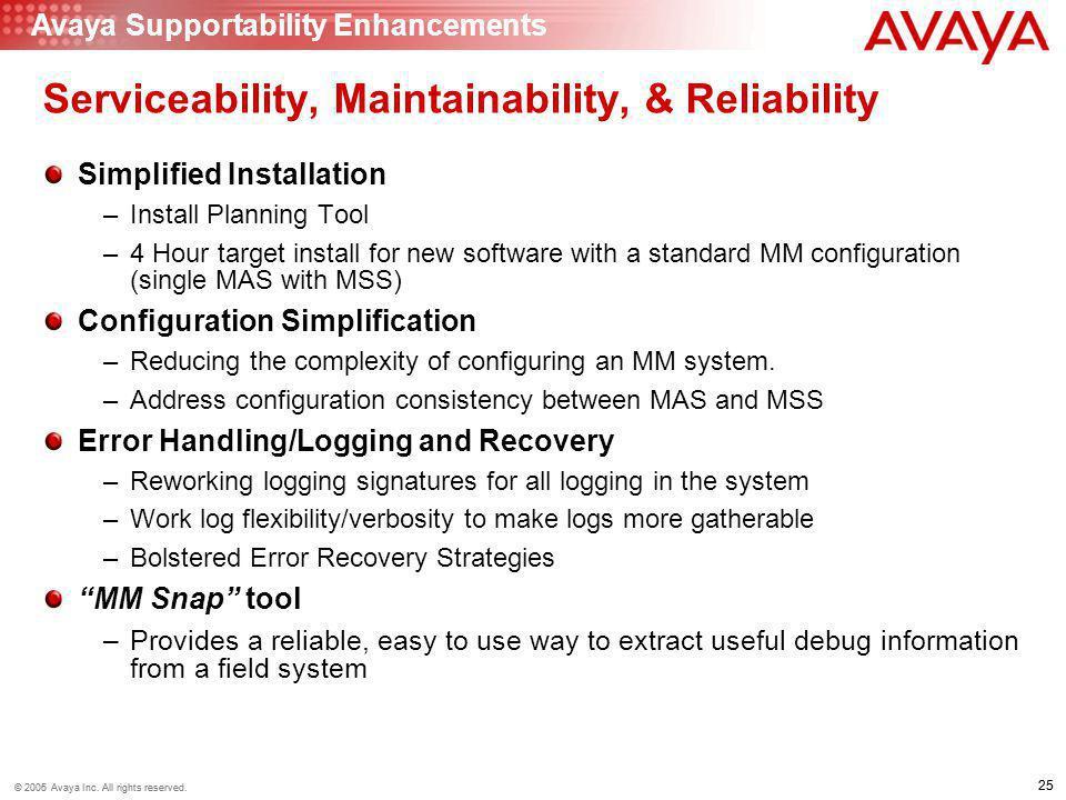 25 © 2006 Avaya Inc. All rights reserved. 25 © 2005 Avaya Inc. All rights reserved. Serviceability, Maintainability, & Reliability Simplified Installa