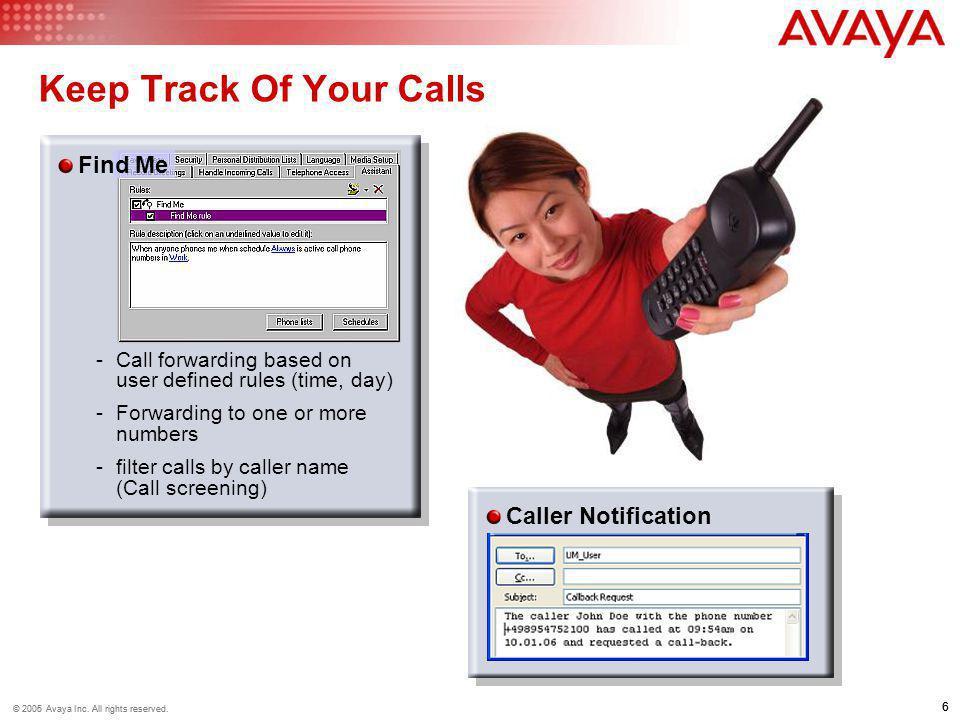 7 © 2006 Avaya Inc.All rights reserved. 7 © 2005 Avaya Inc.