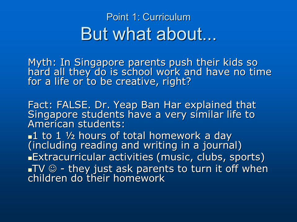Point 1: Curriculum But what about...