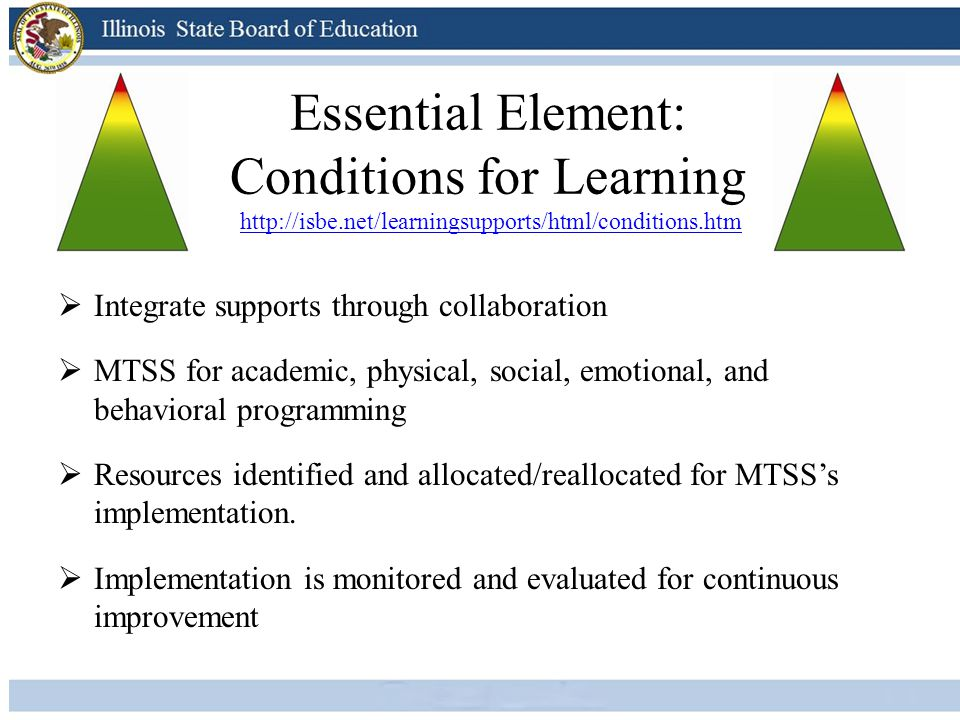 Essential Element: Conditions for Learning http://isbe.net/learningsupports/html/conditions.htmhttp://isbe.net/learningsupports/html/conditions.htm 