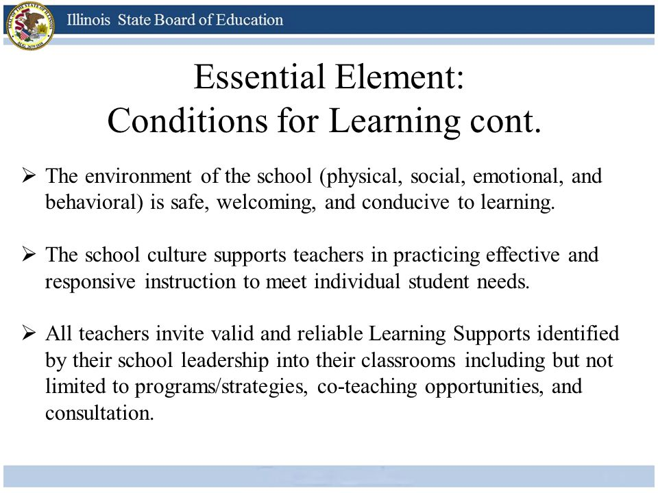 The environment of the school (physical, social, emotional, and behavioral) is safe, welcoming, and conducive to learning.  The school culture supp