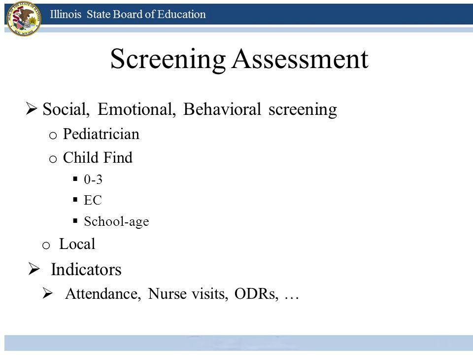 Screening Assessment  Social, Emotional, Behavioral screening o Pediatrician o Child Find  0-3  EC  School-age o Local  Indicators  Attendance,