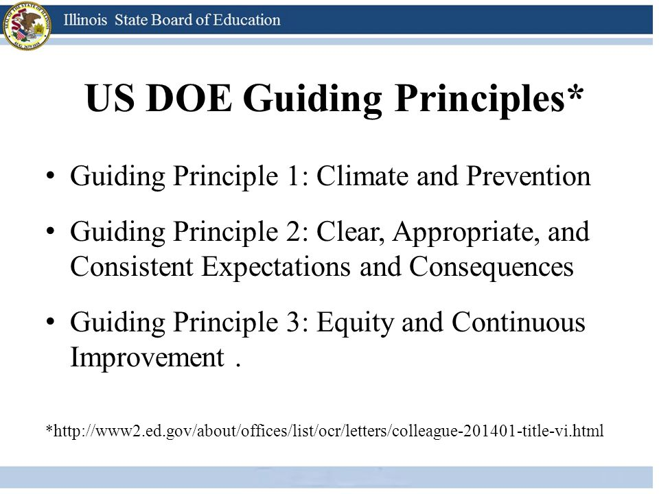 US DOE Guiding Principles* Guiding Principle 1: Climate and Prevention Guiding Principle 2: Clear, Appropriate, and Consistent Expectations and Conseq