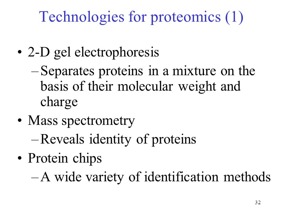 32 Technologies for proteomics (1) 2-D gel electrophoresis –Separates proteins in a mixture on the basis of their molecular weight and charge Mass spectrometry –Reveals identity of proteins Protein chips –A wide variety of identification methods