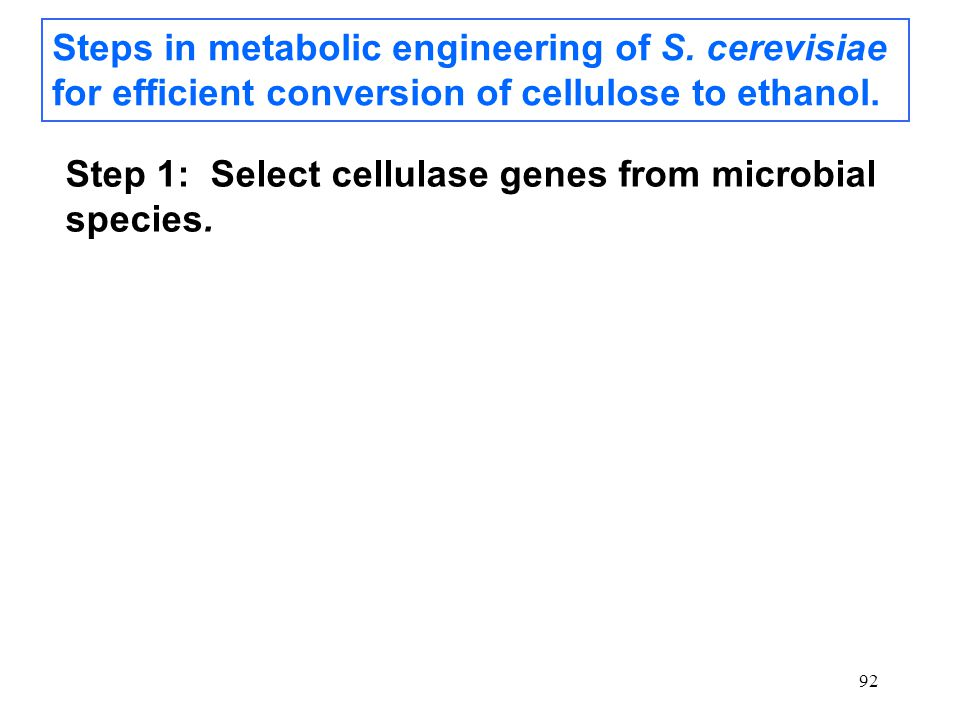 92 Steps in metabolic engineering of S. cerevisiae for efficient conversion of cellulose to ethanol. Step 1: Select cellulase genes from microbial spe