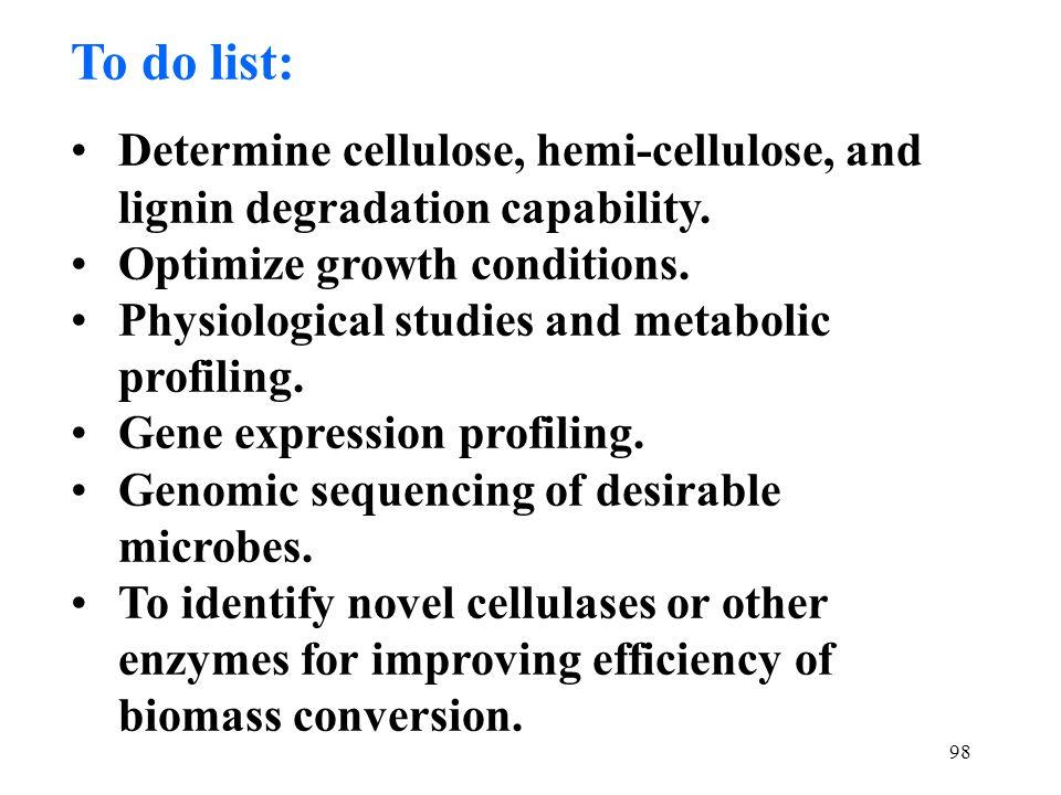 98 To do list: Determine cellulose, hemi-cellulose, and lignin degradation capability.