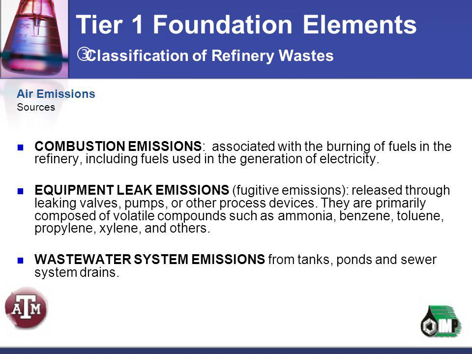 Air Emissions Sources COMBUSTION EMISSIONS: associated with the burning of fuels in the refinery, including fuels used in the generation of electricit