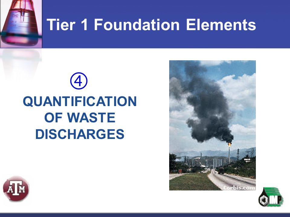  QUANTIFICATION OF WASTE DISCHARGES Tier 1 Foundation Elements