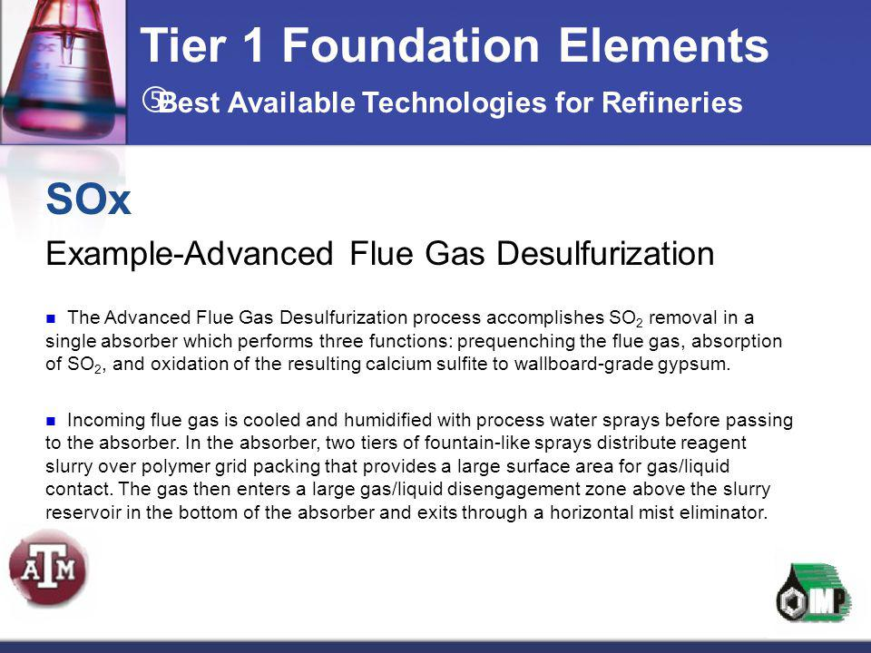 Tier 1 Foundation Elements SOx Example-Advanced Flue Gas Desulfurization The Advanced Flue Gas Desulfurization process accomplishes SO 2 removal in a