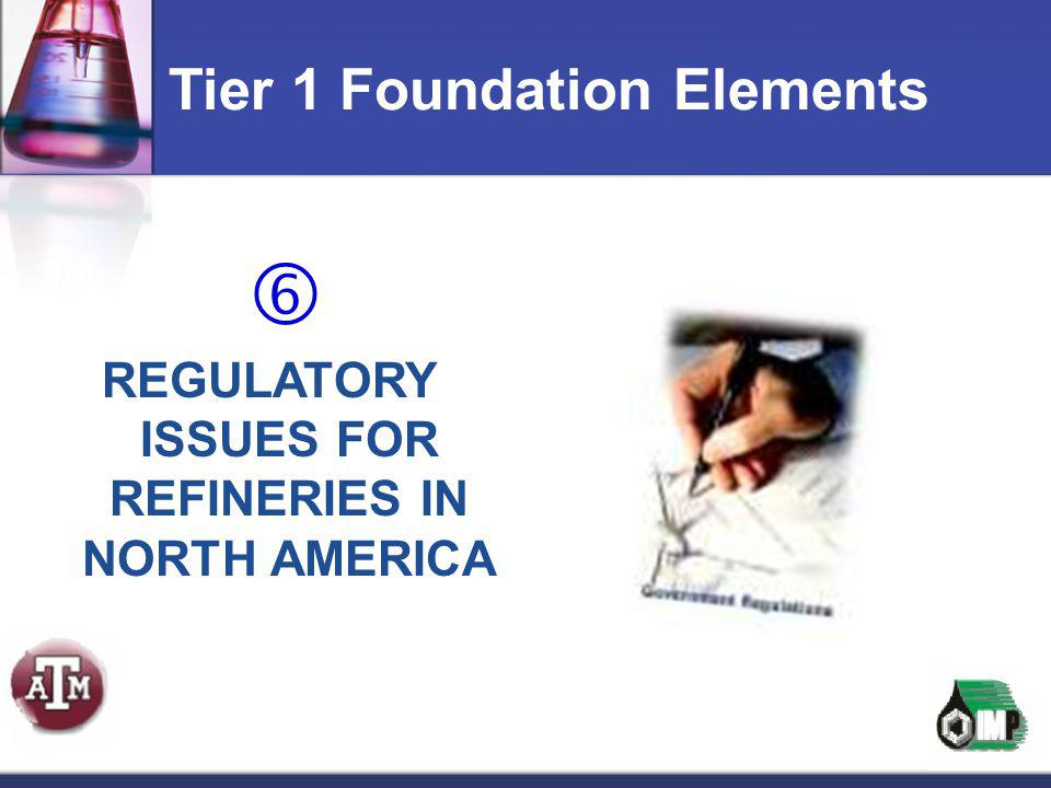  REGULATORY ISSUES FOR REFINERIES IN NORTH AMERICA Tier 1 Foundation Elements