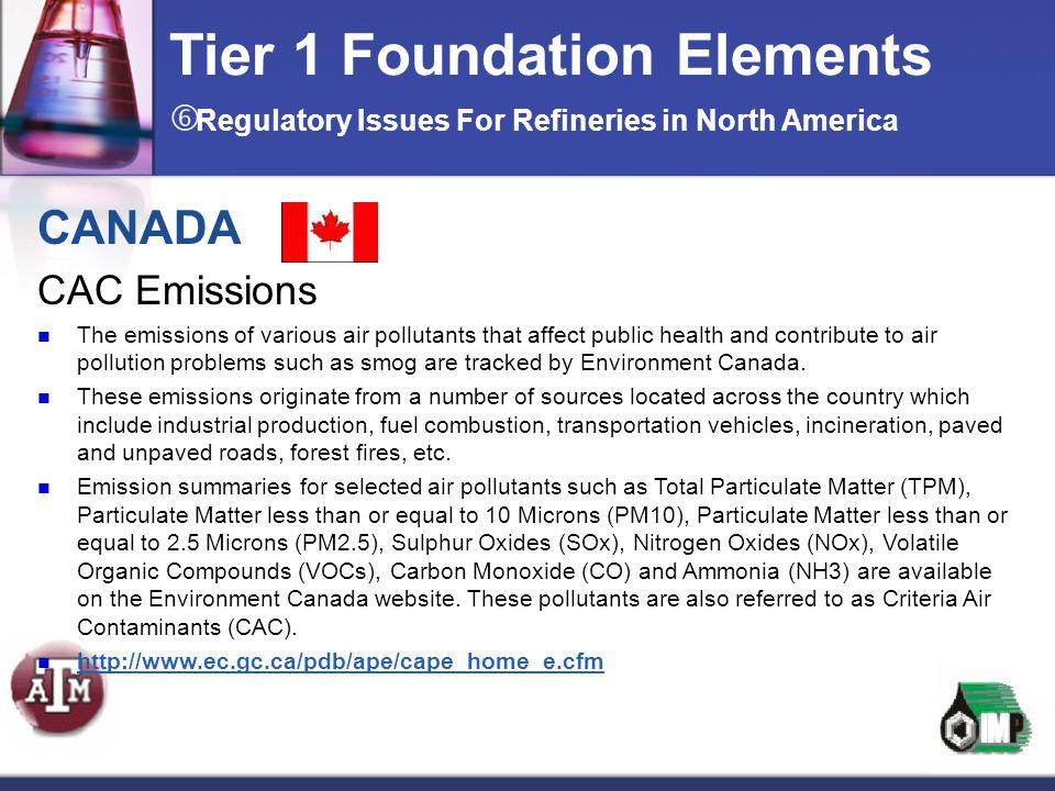 CANADA CAC Emissions The emissions of various air pollutants that affect public health and contribute to air pollution problems such as smog are track