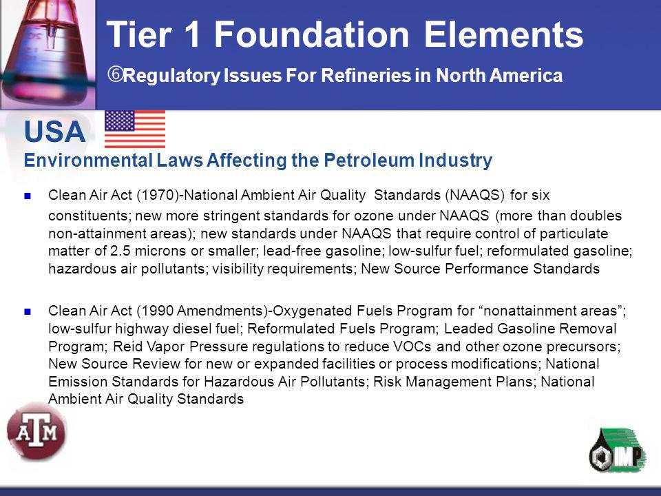 USA Environmental Laws Affecting the Petroleum Industry Clean Air Act (1970)-National Ambient Air Quality Standards (NAAQS) for six constituents; new