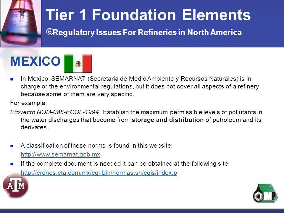 MEXICO In Mexico, SEMARNAT (Secretaria de Medio Ambiente y Recursos Naturales) is in charge or the environmental regulations, but it does not cover al