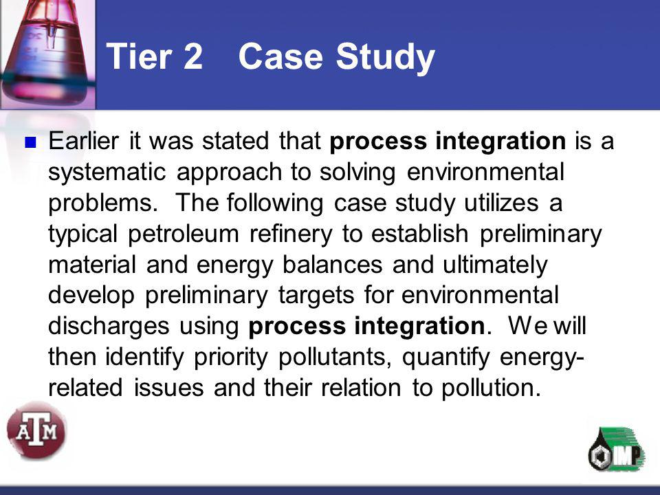 Earlier it was stated that process integration is a systematic approach to solving environmental problems. The following case study utilizes a typical