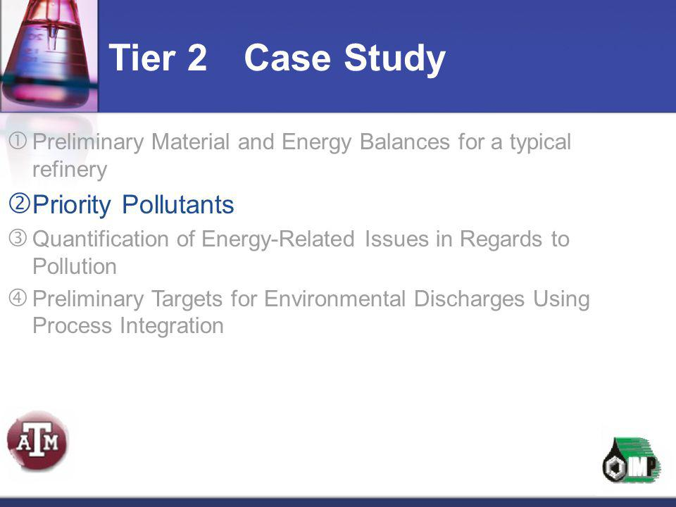  Preliminary Material and Energy Balances for a typical refinery  Priority Pollutants  Quantification of Energy-Related Issues in Regards to Pollut
