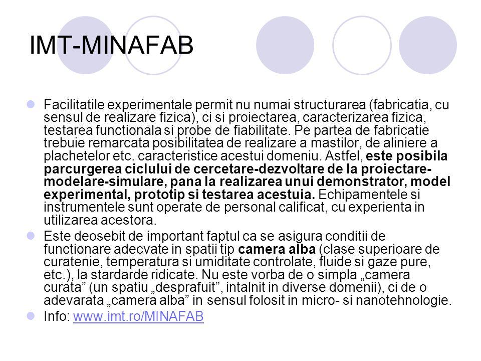 IMT-MINAFAB Facilitatile experimentale permit nu numai structurarea (fabricatia, cu sensul de realizare fizica), ci si proiectarea, caracterizarea fiz