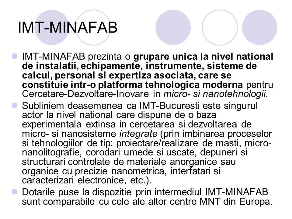 IMT-MINAFAB IMT-MINAFAB prezinta o grupare unica la nivel national de instalatii, echipamente, instrumente, sisteme de calcul, personal si expertiza a