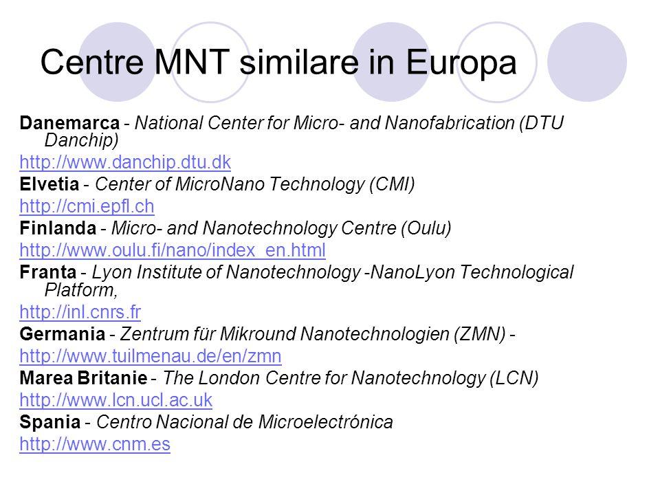 Centre MNT similare in Europa Danemarca - National Center for Micro- and Nanofabrication (DTU Danchip) http://www.danchip.dtu.dk Elvetia - Center of M