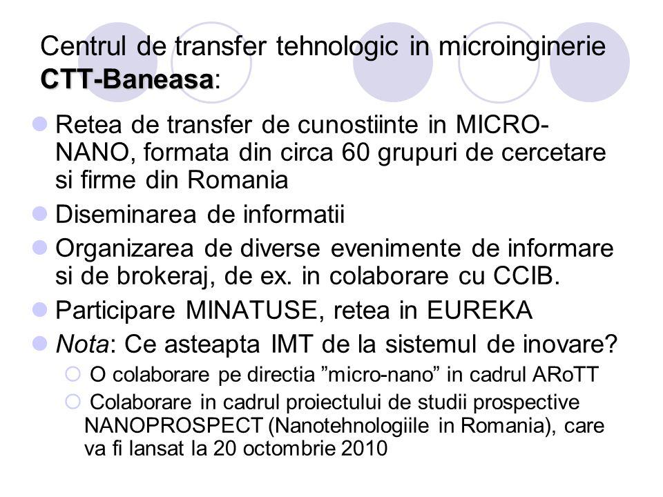 CTT-Baneasa Centrul de transfer tehnologic in microinginerie CTT-Baneasa: Retea de transfer de cunostiinte in MICRO- NANO, formata din circa 60 grupur