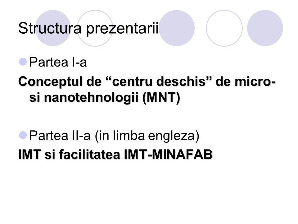 "Structura prezentarii Partea I-a Conceptul de ""centru deschis"" de micro- si nanotehnologii (MNT) Partea II-a (in limba engleza) IMT si facilitatea IMT"