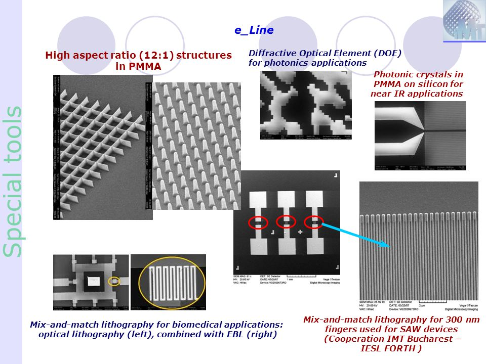 e_Line Special tools Mix-and-match lithography for 300 nm fingers used for SAW devices (Cooperation IMT Bucharest – IESL FORTH ) High aspect ratio (12