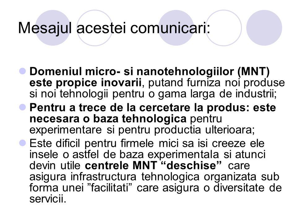 Mesajul acestei comunicari: Domeniul micro- si nanotehnologiilor (MNT) este propice inovarii, putand furniza noi produse si noi tehnologii pentru o ga
