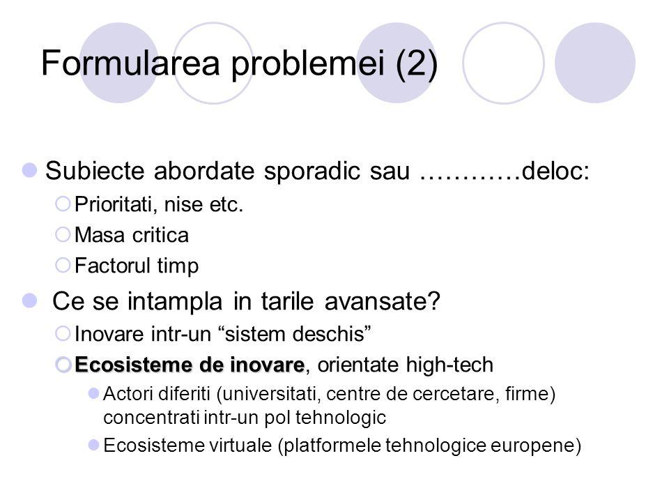 Formularea problemei (2) Subiecte abordate sporadic sau …………deloc:  Prioritati, nise etc.  Masa critica  Factorul timp Ce se intampla in tarile ava