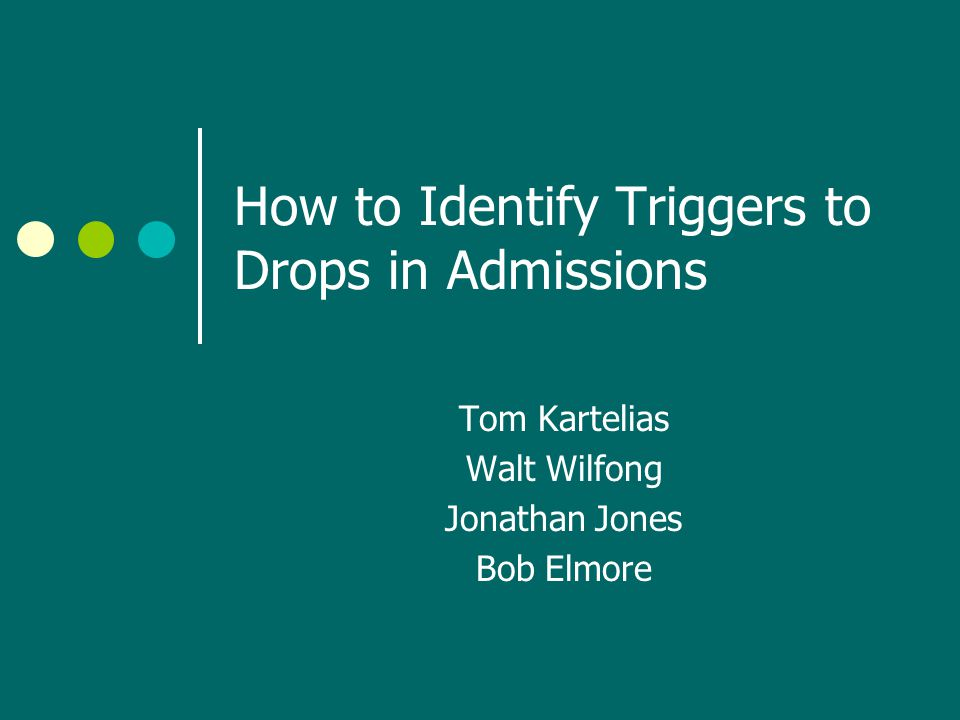 How to Identify Triggers to Drops in Admissions Tom Kartelias Walt Wilfong Jonathan Jones Bob Elmore
