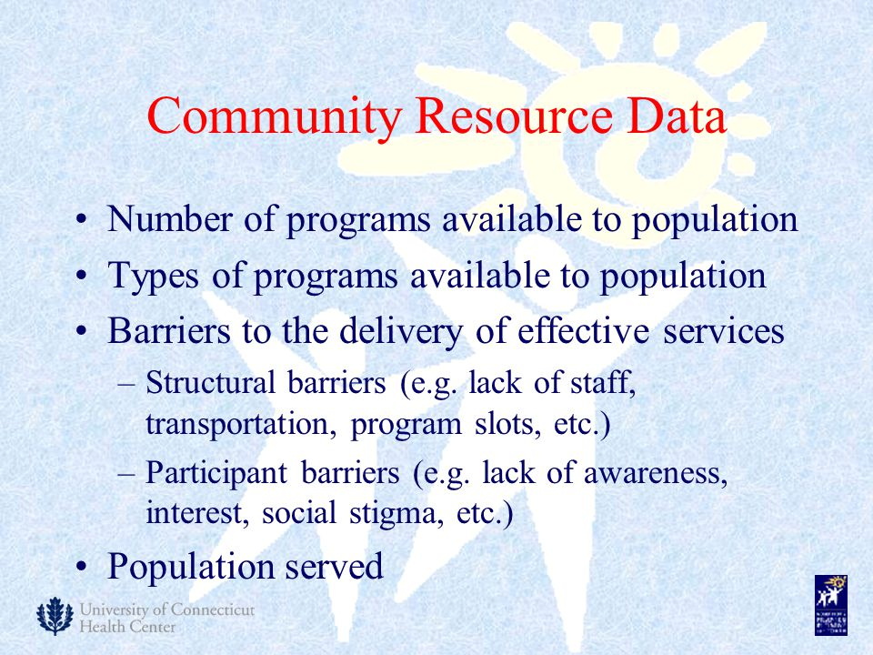 Community Resource Data Number of programs available to population Types of programs available to population Barriers to the delivery of effective ser