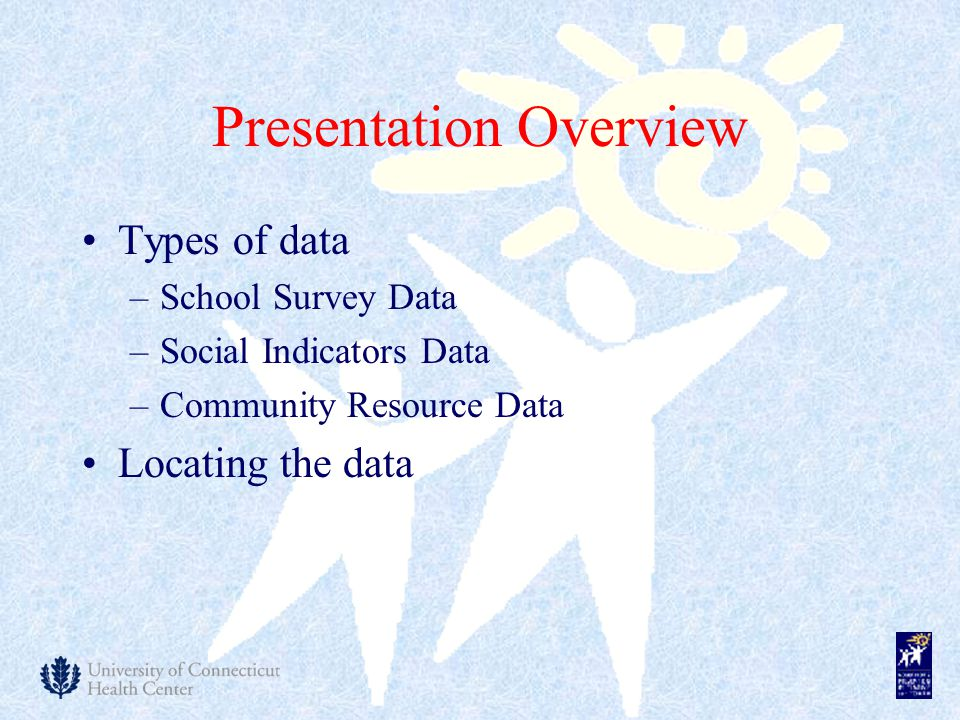 Presentation Overview Types of data –School Survey Data –Social Indicators Data –Community Resource Data Locating the data