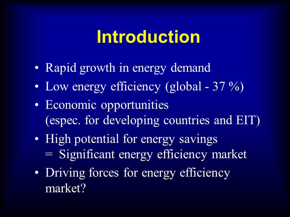 Introduction Rapid growth in energy demand Low energy efficiency (global - 37 %) Economic opportunities (espec.