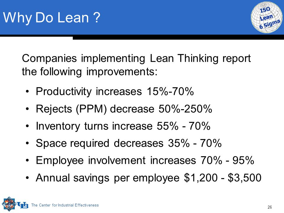 The Center for Industrial Effectiveness 26 Why Do Lean .