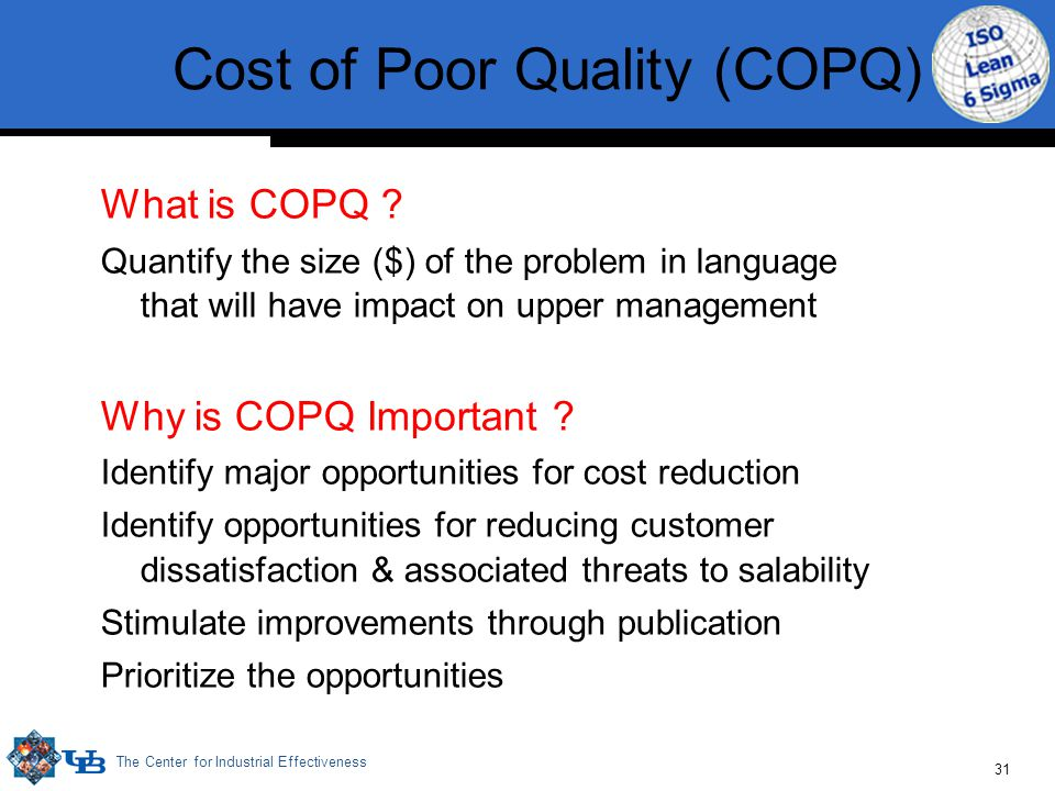 The Center for Industrial Effectiveness 31 What is COPQ .