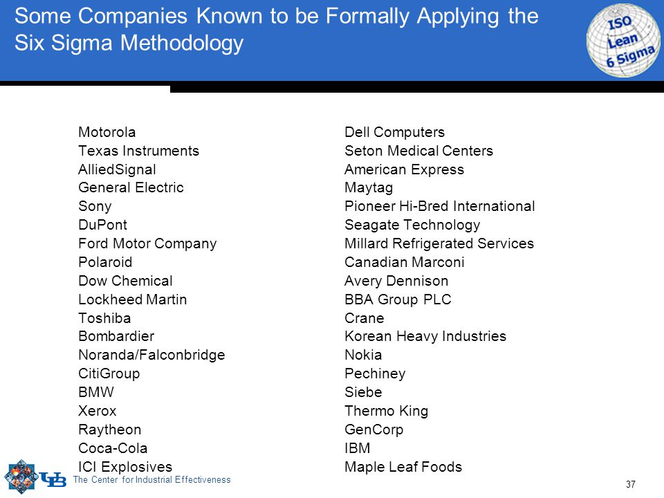 The Center for Industrial Effectiveness 37 Some Companies Known to be Formally Applying the Six Sigma Methodology Motorola Texas Instruments AlliedSig