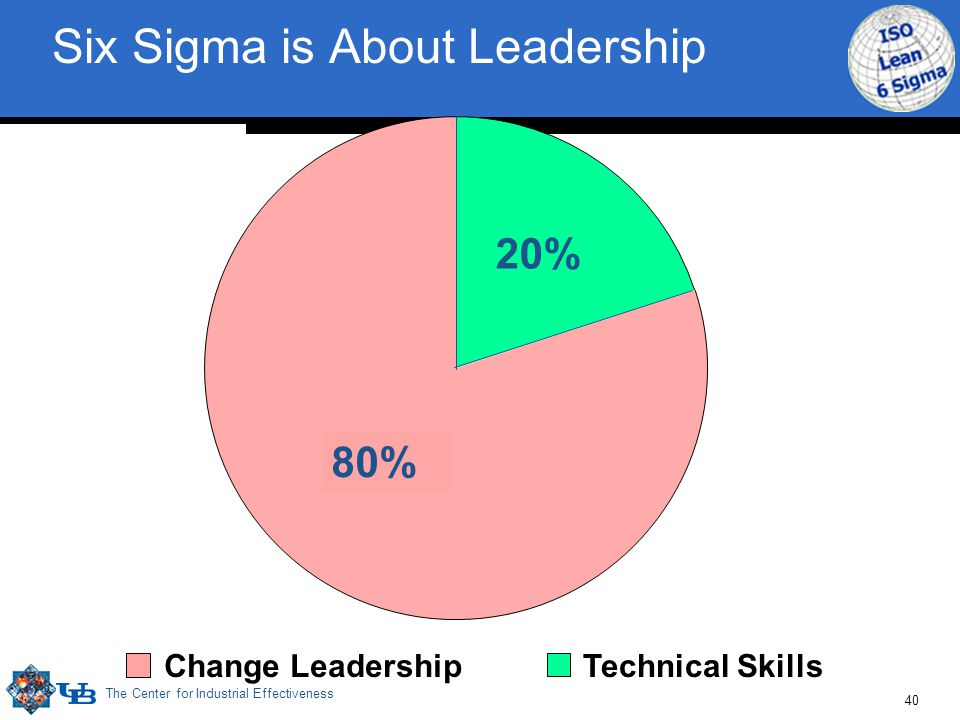 The Center for Industrial Effectiveness 40 Technical SkillsChange Leadership Six Sigma is About Leadership 20% 80%