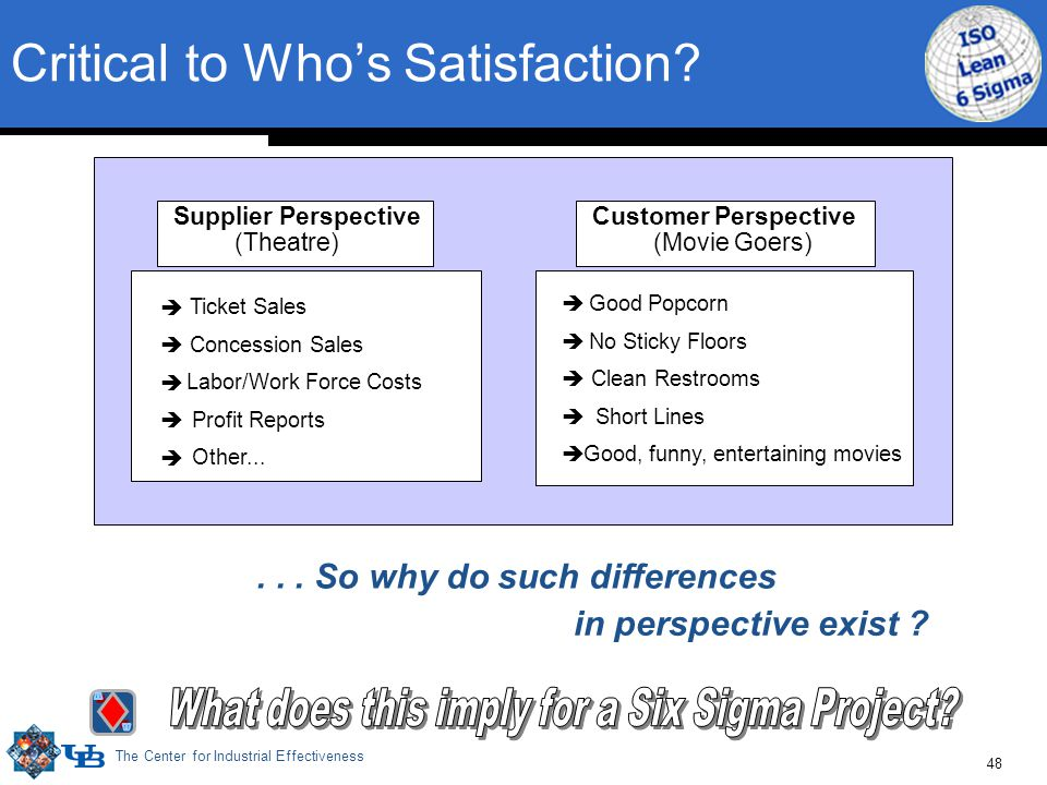 The Center for Industrial Effectiveness 48 Critical to Who's Satisfaction.