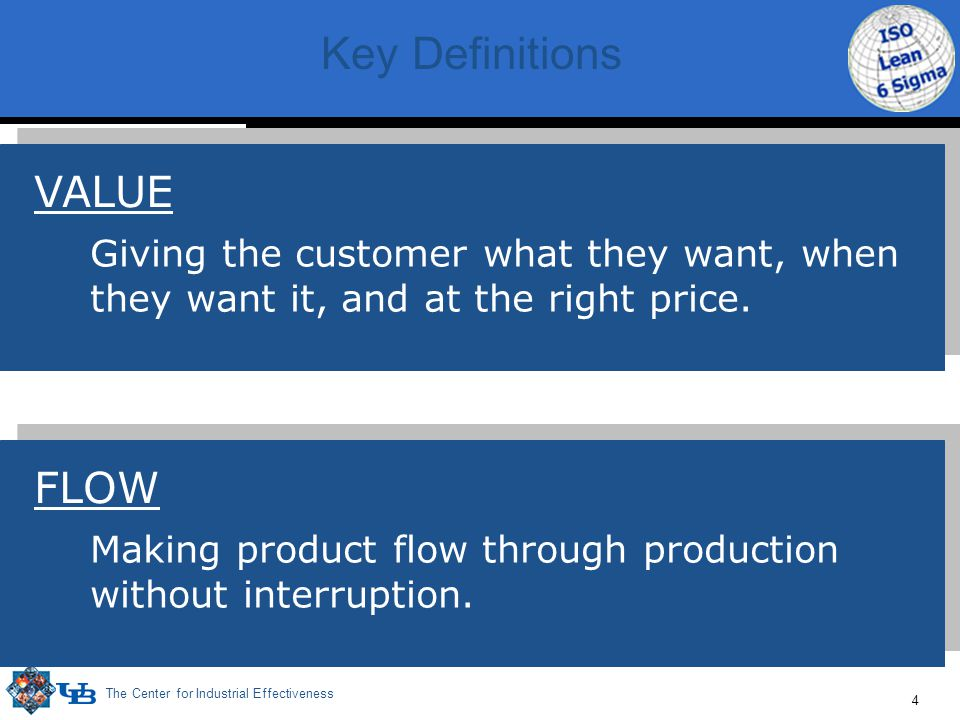 The Center for Industrial Effectiveness 4 Key Definitions Making product flow through production without interruption.