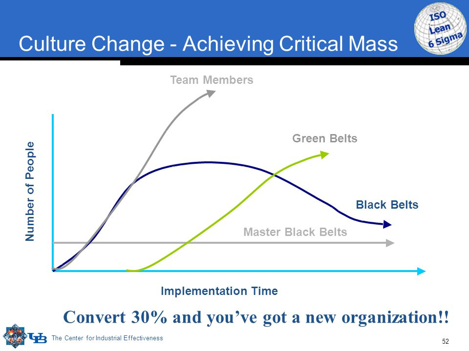 The Center for Industrial Effectiveness 52 Culture Change - Achieving Critical Mass Number of People Implementation Time Team Members Green Belts Blac