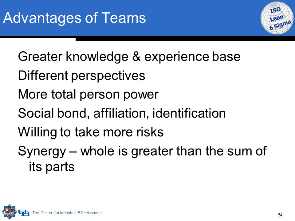 The Center for Industrial Effectiveness 54 Advantages of Teams Greater knowledge & experience base Different perspectives More total person power Soci