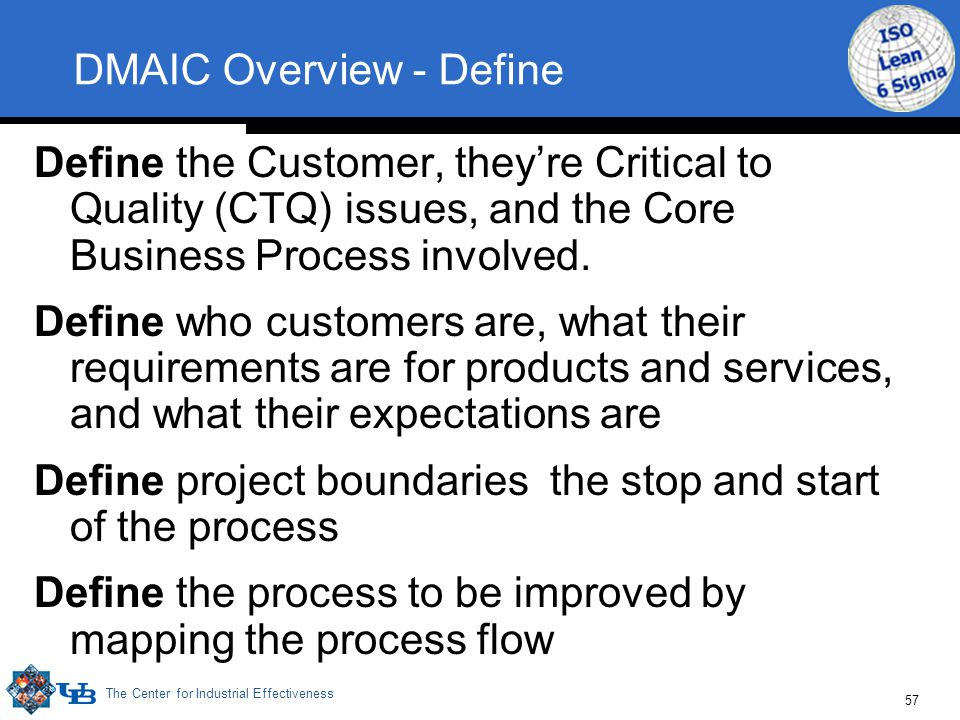 The Center for Industrial Effectiveness 57 DMAIC Overview - Define Define the Customer, they're Critical to Quality (CTQ) issues, and the Core Business Process involved.