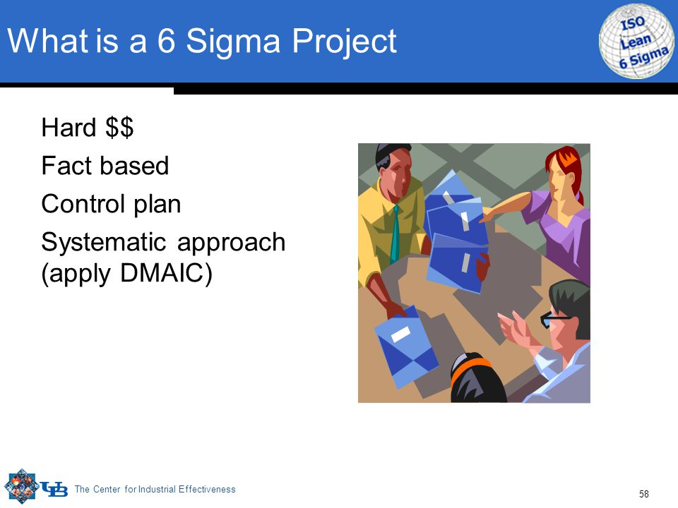 The Center for Industrial Effectiveness 58 What is a 6 Sigma Project Hard $$ Fact based Control plan Systematic approach (apply DMAIC)