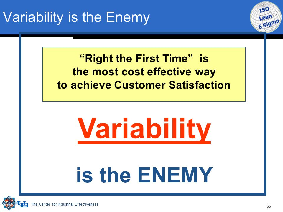 The Center for Industrial Effectiveness 66 Variability is the ENEMY Right the First Time is the most cost effective way to achieve Customer Satisfaction Variability is the Enemy