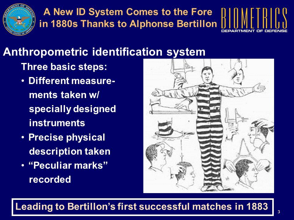 2 Outline 1.19th Century Biometric History 2.21st Century Biometric Status 3.National Security Needs & Biometric Reality 4.BMO Activities 5.Summary