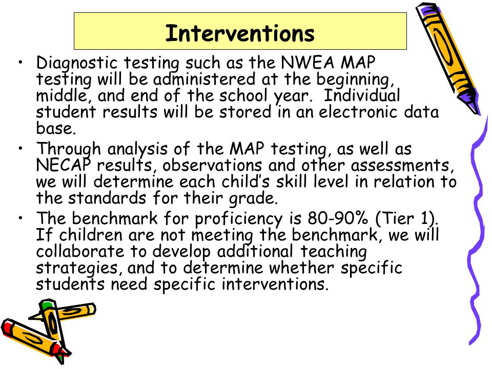 Interventions Diagnostic testing such as the NWEA MAP testing will be administered at the beginning, middle, and end of the school year. Individual st